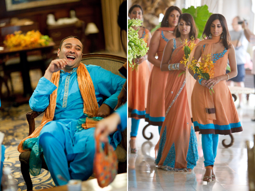 Indian wedding groomsman and bridesmaid blue
