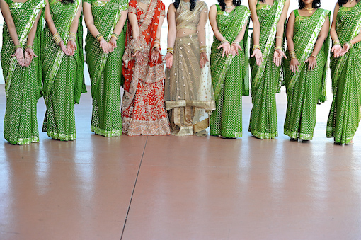 Indian bride and bridesmaids in green sari