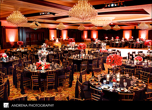 Indian wedding reception room navy and coral