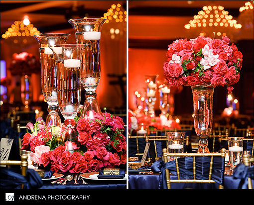 Navy and coral reception details 1