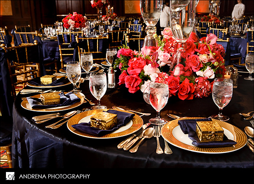 Navy and coral reception table details 1