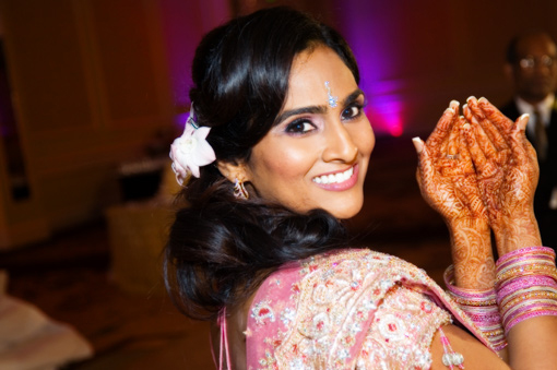 Modern indian bride, pink bridal lengha 1