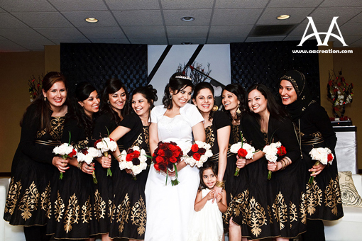 South asian bride and bridesmaids