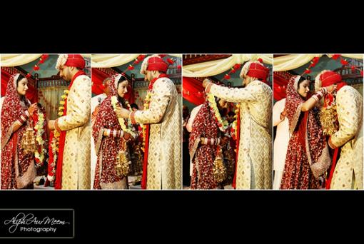 Indian bride and groom, jai mala