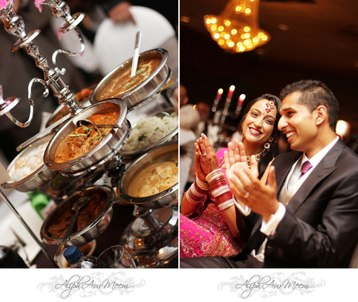 Indian wedding, bride and groom, indian food family style copy