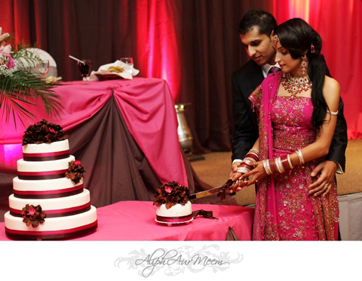 Indian bride and groom, indian wedding cake, pink and brown