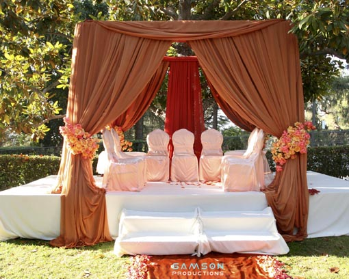 Indian wedding mandap, neutrals, basic, orange accent
