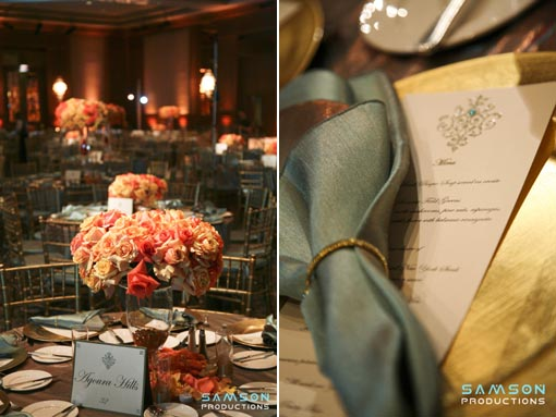 Indian wedding, tiffany blue and orange decor reception copy