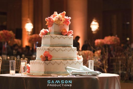 Tiffany blue and orange, indian wedding cake