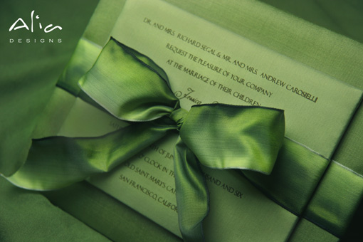 Green indian wedding invitation