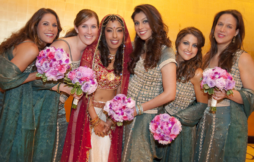 Indian wedding, indian bride, bridesmaids, green