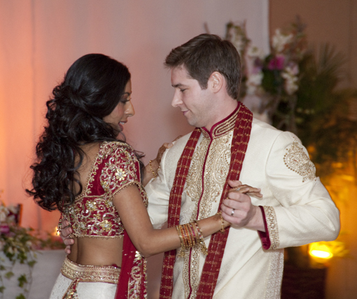 Indian wedding, bride and groom, dancing 1