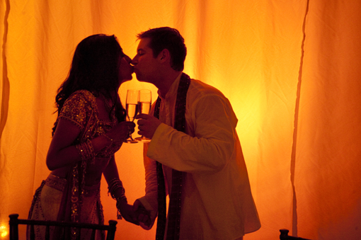 Indian wedding, indian bride and groom kiss