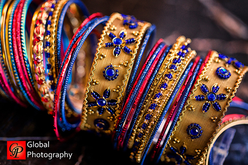 Indian wedding, bangles, red and blue