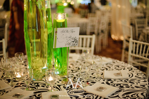 Indian wedding, green, black and white decor 2