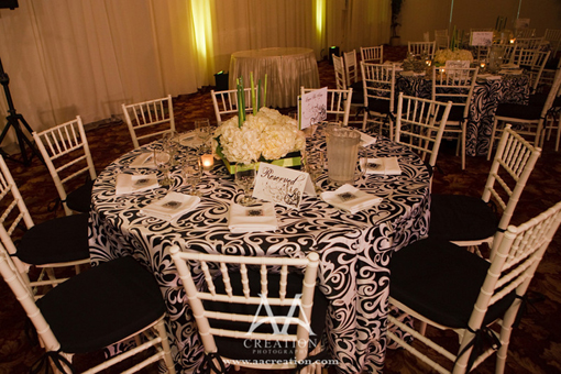 Indian wedding, green black and white decor 4