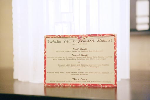 Indian wedding menu