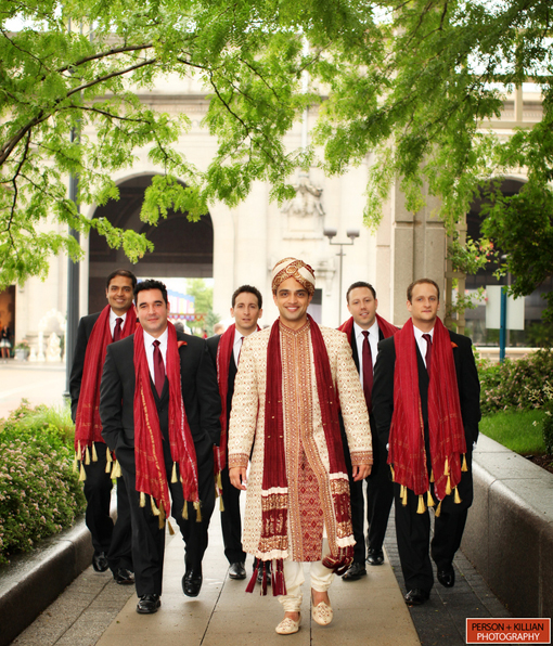 Indian wedding, groomsman red