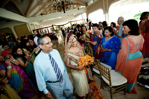 Indian wedding bride's enterance with dad