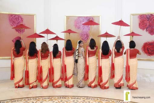 Indian wedding bride and bridesmaids