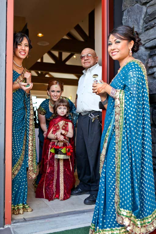 Indian-wedding-flower-girl-bridesmaids-blue-sari