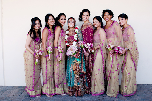 Indian-wedidng-bridesmaids-pink-sari