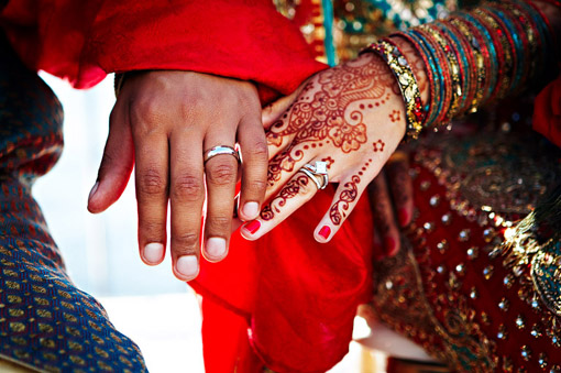 Indian-wedding-blue-red-bridal-lengha-rings
