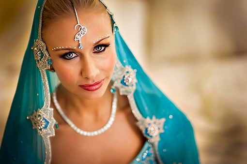 Indian-bride-blue-lengha-fusion-wedding-blonde