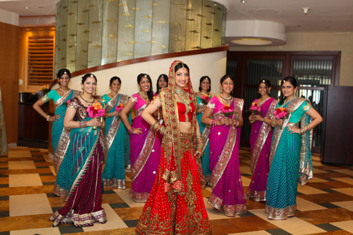 Indian-wedding-hindu-ceremony-red-bridal-lengha-bridesmaids-indian-sari