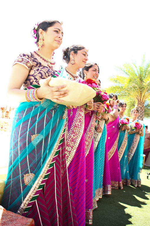 Indian-wedding-hindu-ceremony-bridesmaids-sari