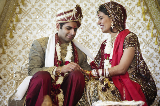 Indian wedding bride and groom red and gold lengha 2 copy