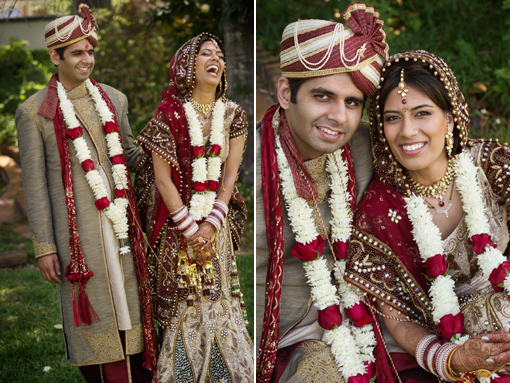 Indian wedding bride and groom red and gold lengha 1 copy