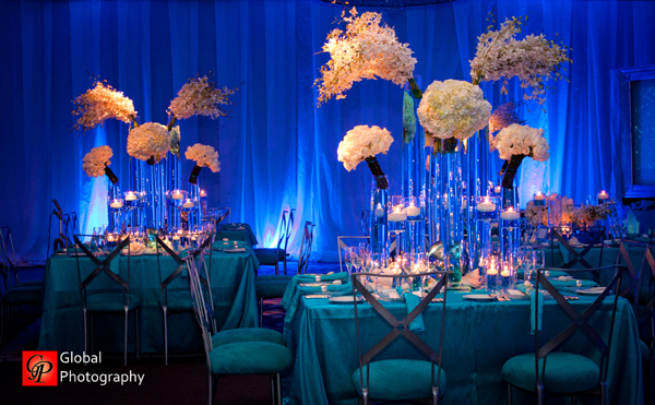 Blue Wedding Reception Flowers Wave Theme Indian