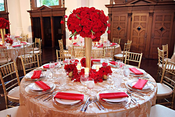 Red and gold wedding reception decor car interior design