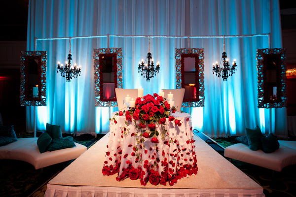 Red And Blue Cleveland Indian Wedding Reception Maharani
