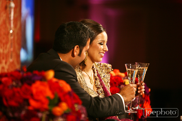 indian bride and groom at indian wedding reception