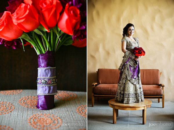 Indian bridal lengha and bridal bouquet ideas