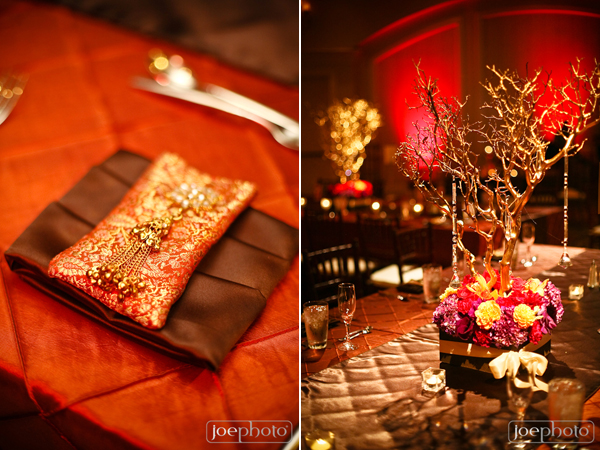 Indian wedding decor and floral for reception space.