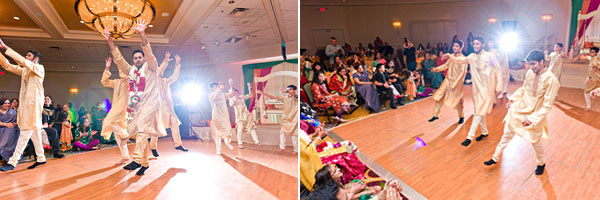 An Indian bridal party tears up the dance floor at this Indian wedding reception.