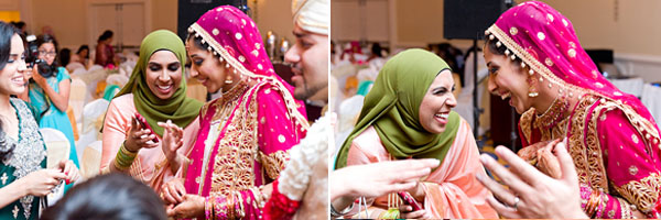 An Indian bride celebrates with her family at an Indian wedding reception.