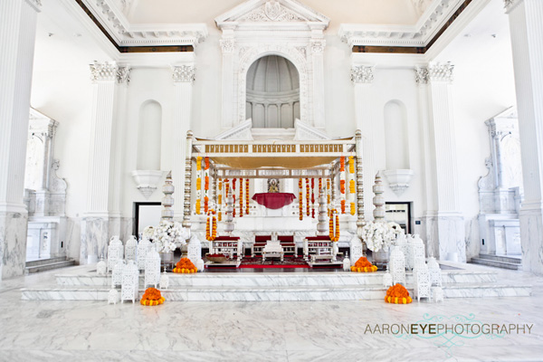 A gorgeous modern mandap at an Indian wedding ceremony.
