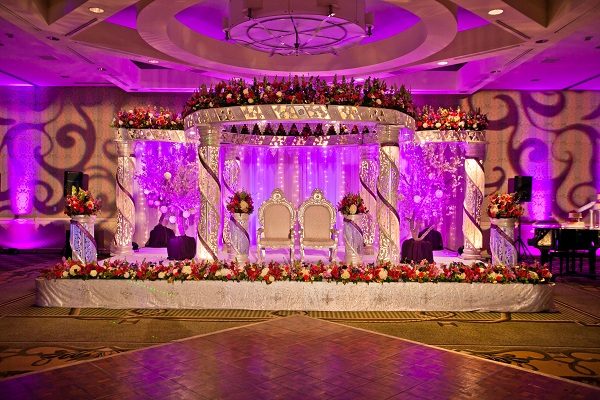 Long beach california indian wedding by samson for Wedding hall decoration photos