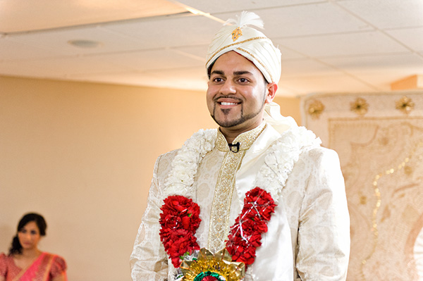 An Indian groom waits for his Indian bride at a Muslim wedding ceremony.