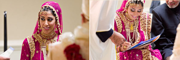 An Indian bride wears a hot pink bridal lengha.