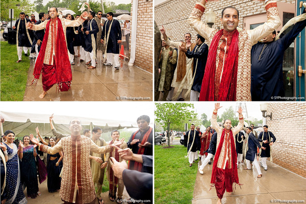 A Indian groom dances in the rain at his baraat.