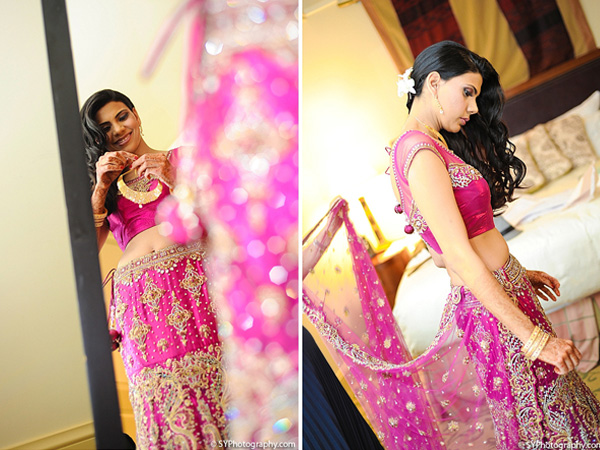 An Indian bride gets ready for a lavish Indian wedding reception.