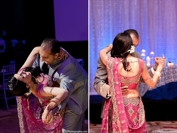 Indian wedding photos capture this Indian bride and groom at their first dance.