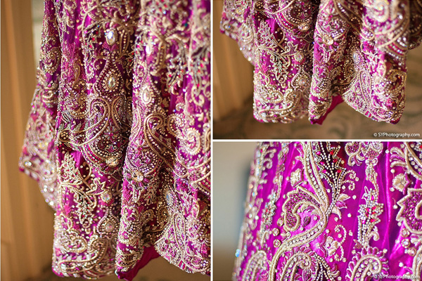 Indian wedding photos show a closeup of this detailed purple bridal lengha skirt.