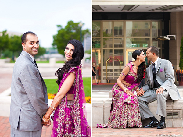 An Indian bride and groom celebrate their big day with Indian wedding photos.