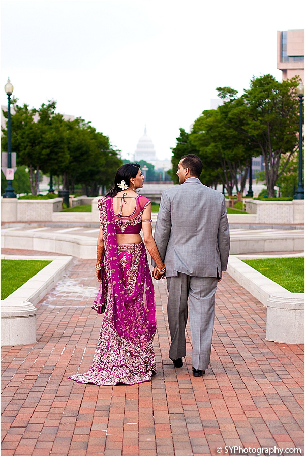 An Indian bride and groom before their Indian wedding reception.